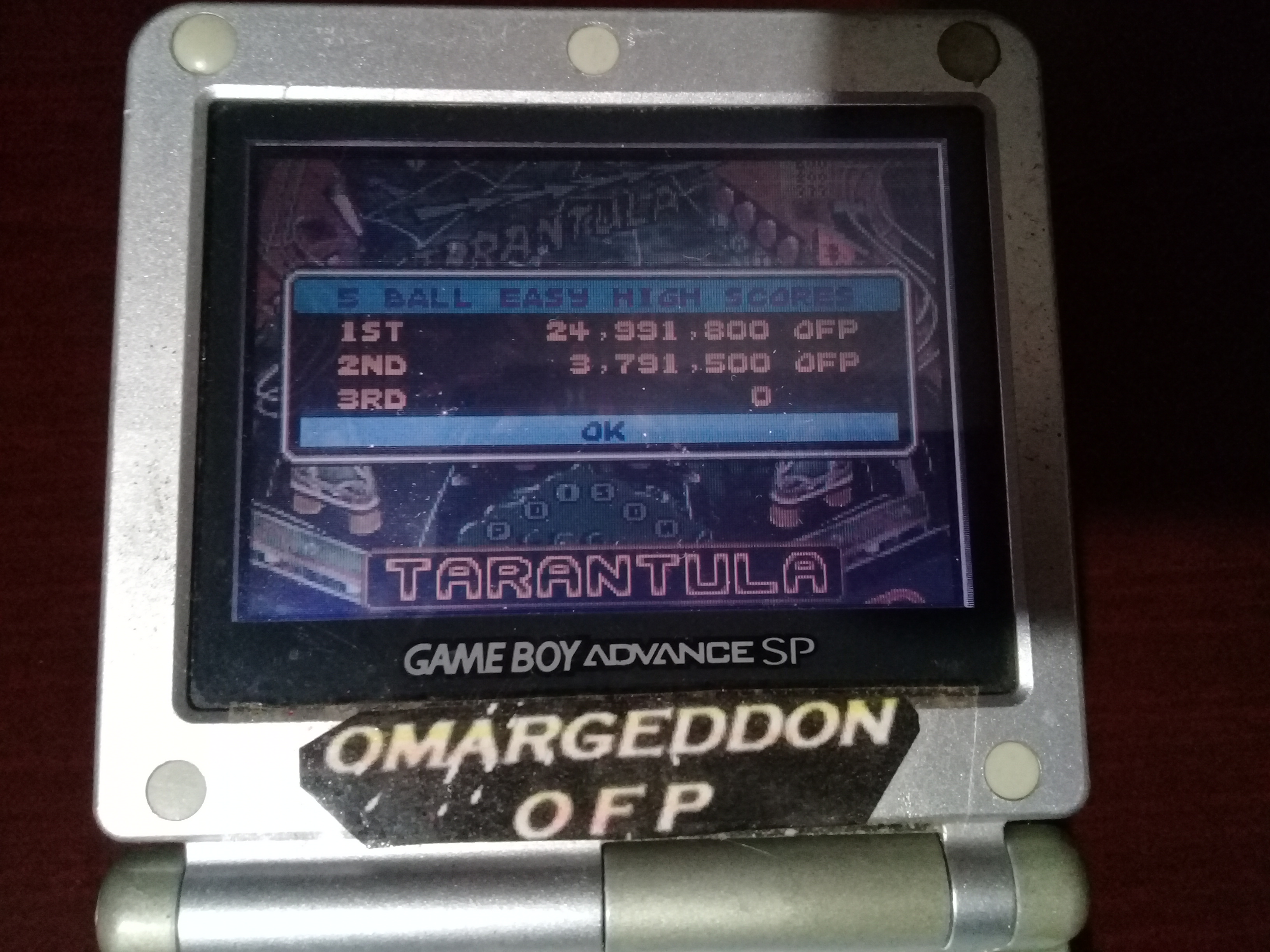 omargeddon: Pinball Advance: Tarantula [5 Balls] [Easy] (GBA) 24,991,800 points on 2019-11-02 01:19:47