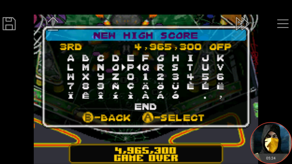 omargeddon: Pinball Advance: Tarantula [5 Balls] [Hard] (GBA Emulated) 4,965,300 points on 2018-04-14 20:01:38