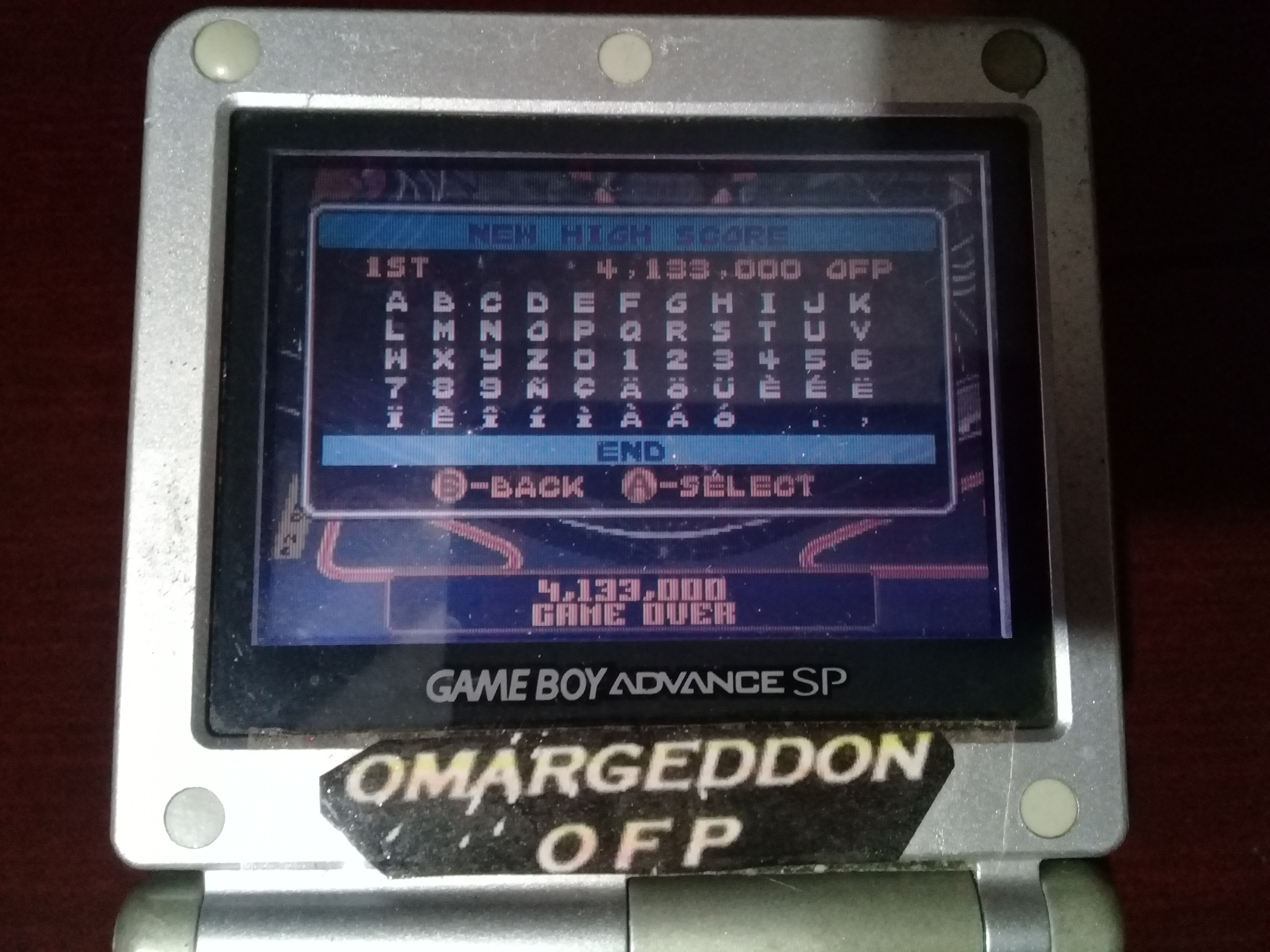 omargeddon: Pinball Advance: Tarantula [5 Balls] [Hard] (GBA) 4,133,000 points on 2019-11-02 01:50:14