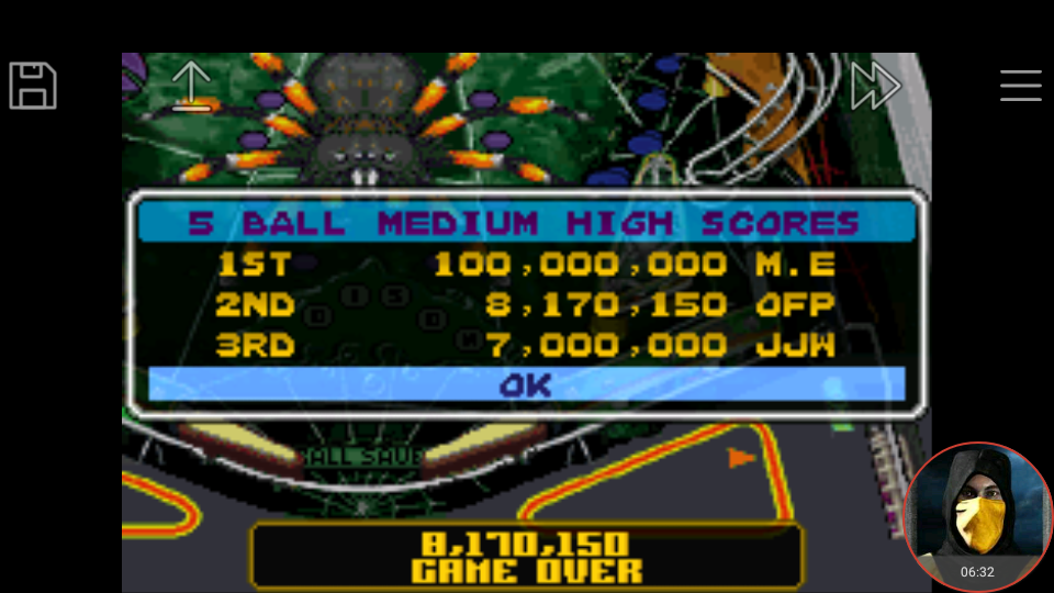 omargeddon: Pinball Advance: Tarantula [5 Balls] [Medium] (GBA Emulated) 8,170,150 points on 2018-04-14 10:36:50
