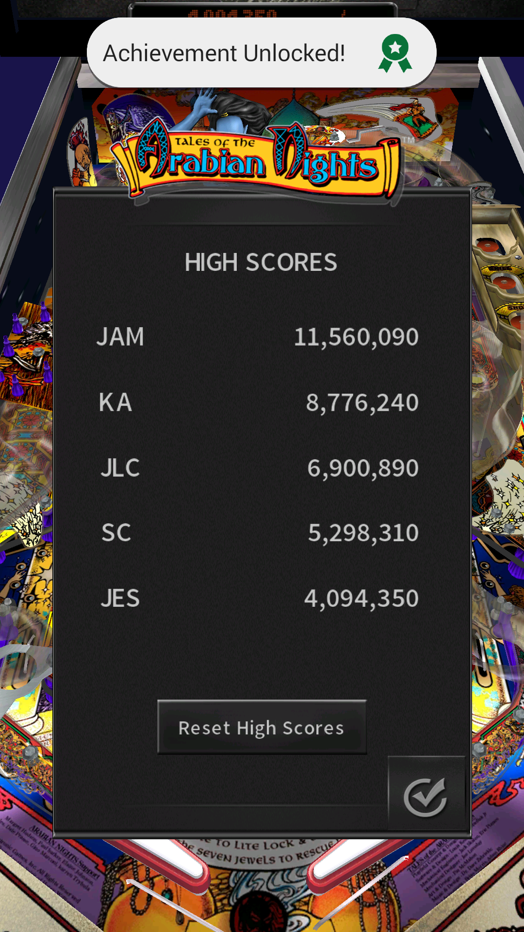 JES: Pinball Arcade: Arabian Knights (Android) 4,094,350 points on 2016-12-07 09:14:23