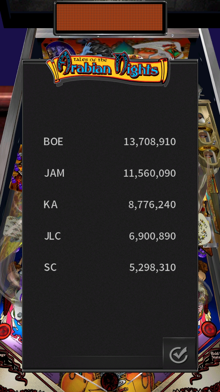 Boegas: Pinball Arcade: Arabian Knights (Android) 13,708,910 points on 2019-01-01 20:46:05