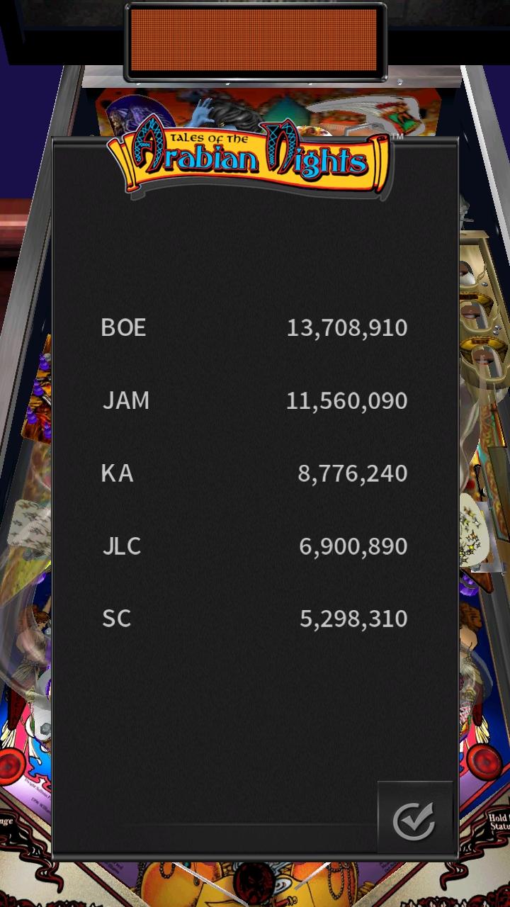 Pinball Arcade: Arabian Knights 13,708,910 points