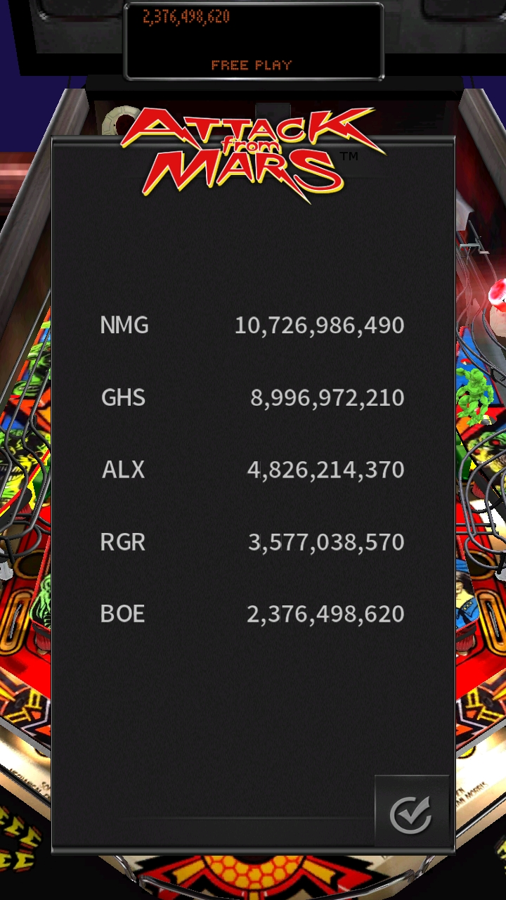 Boegas: Pinball Arcade: Attack From Mars (Android) 2,376,498,620 points on 2019-01-01 15:43:09