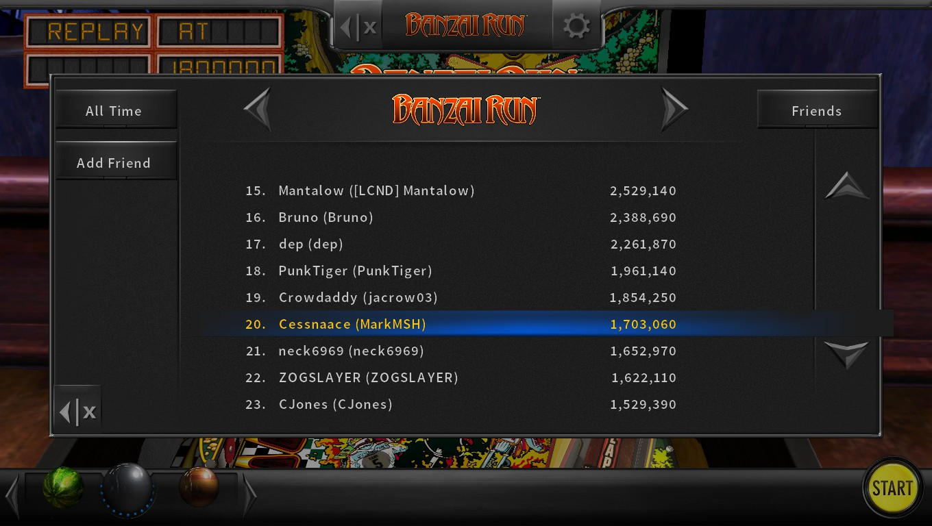 Mark: Pinball Arcade: Banzai Run (PC) 1,703,060 points on 2018-05-05 18:34:34