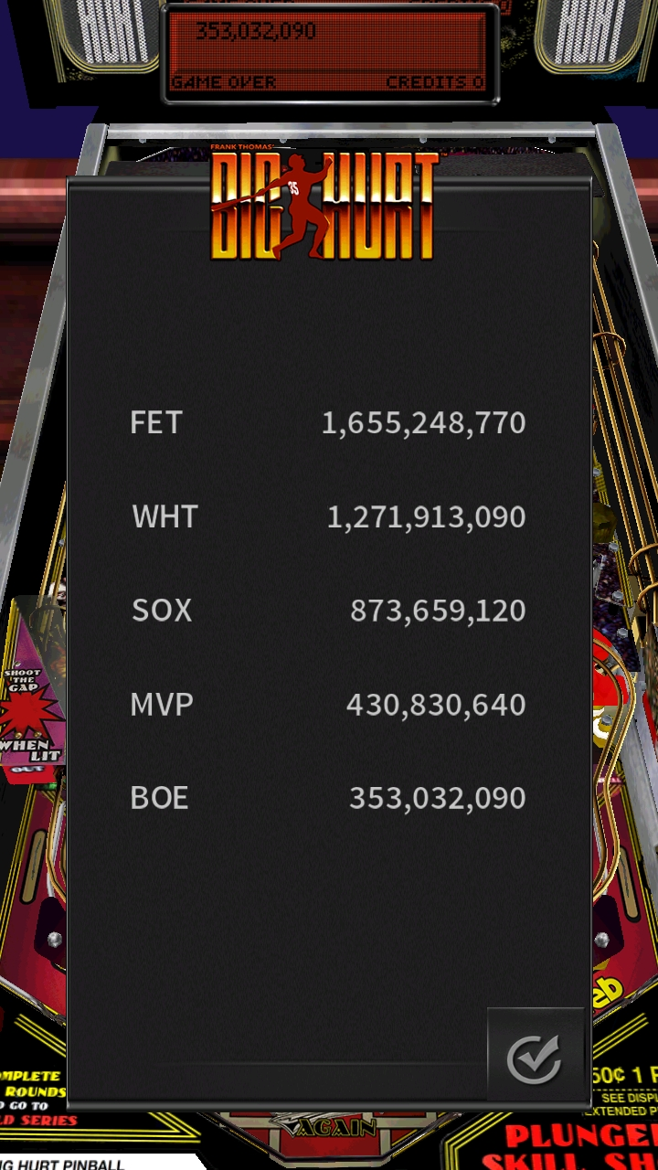 Boegas: Pinball Arcade: Big Hurt (Android) 353,032,090 points on 2019-01-01 16:21:28
