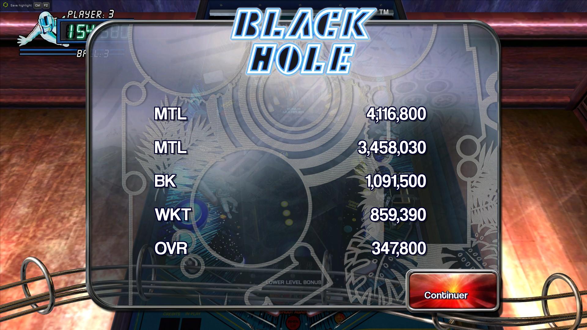 Mantalow: Pinball Arcade: Black Hole (PC) 4,116,800 points on 2015-08-27 10:48:27