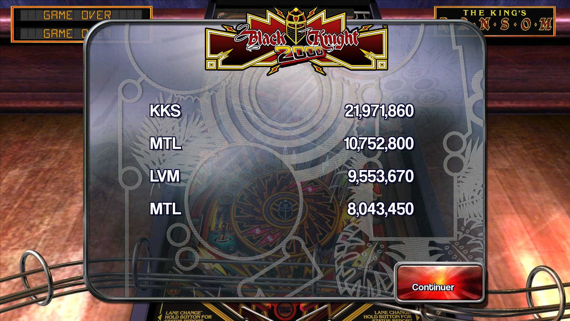 Mantalow: Pinball Arcade: Black Knight 2000 (PC) 10,752,800 points on 2016-02-25 10:21:08