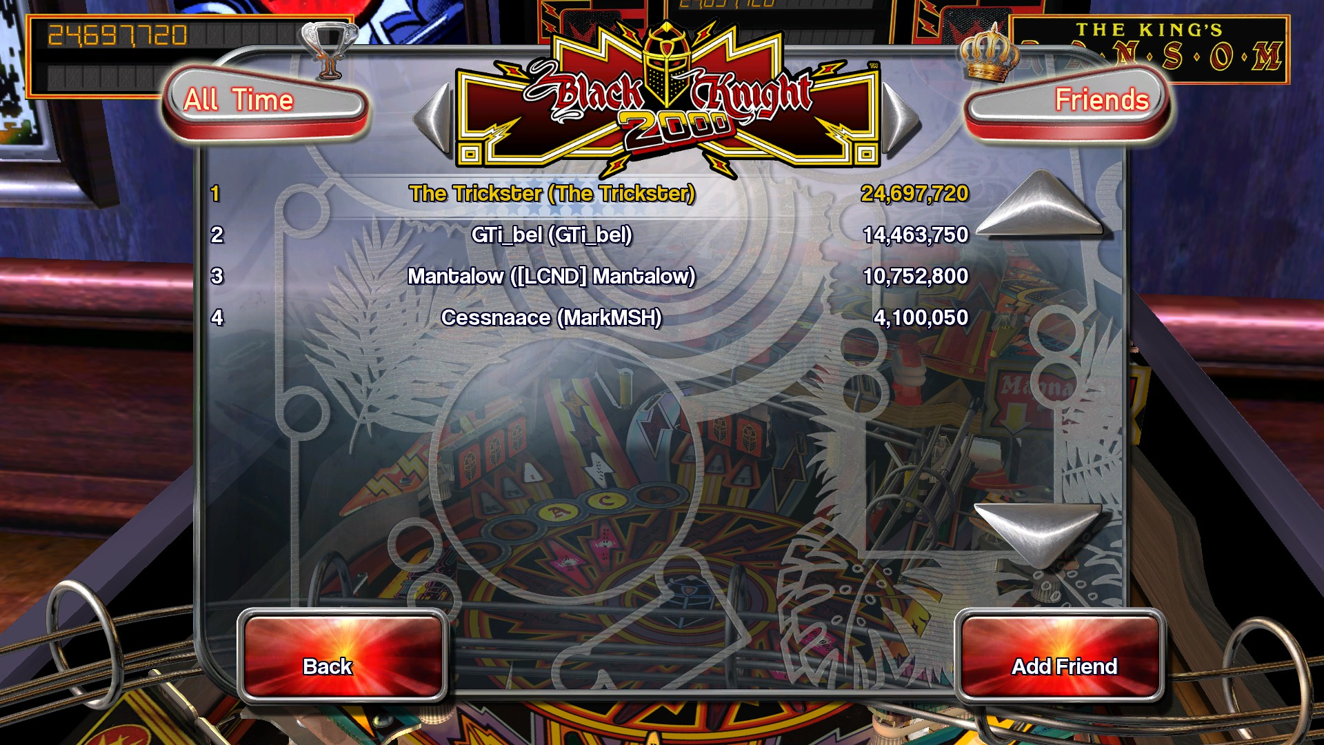 Pinball Arcade: Black Knight 2000 24,697,720 points