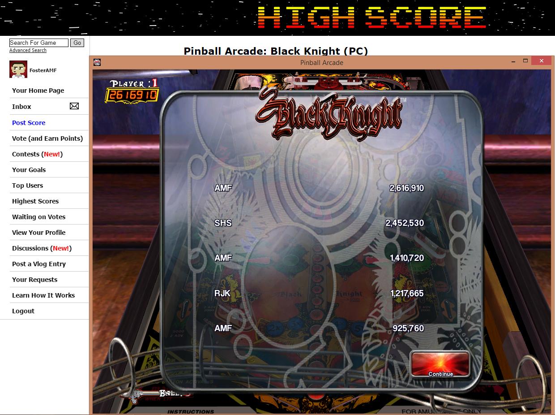 FosterAMF: Pinball Arcade: Black Knight (PC) 2,616,910 points on 2015-07-07 22:14:05