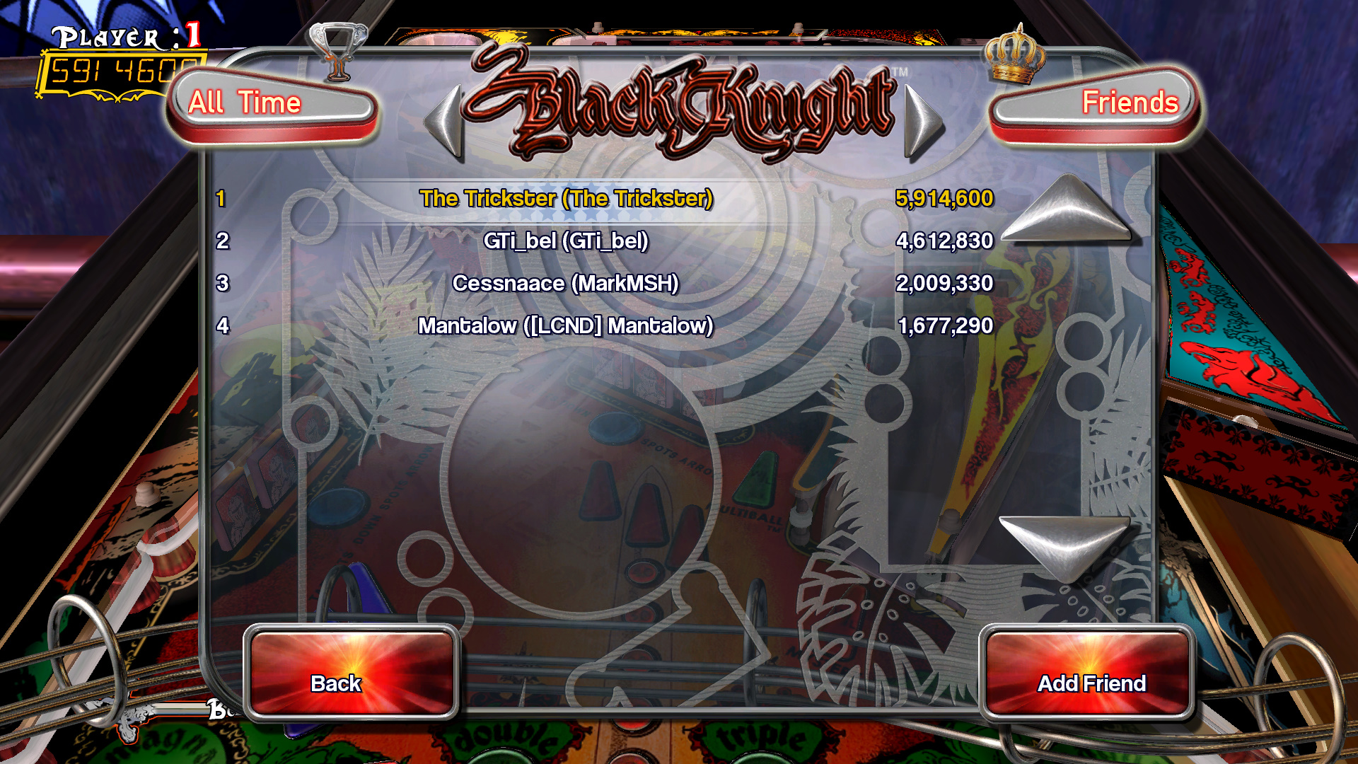 TheTrickster: Pinball Arcade: Black Knight (PC) 5,914,600 points on 2015-09-12 21:45:55