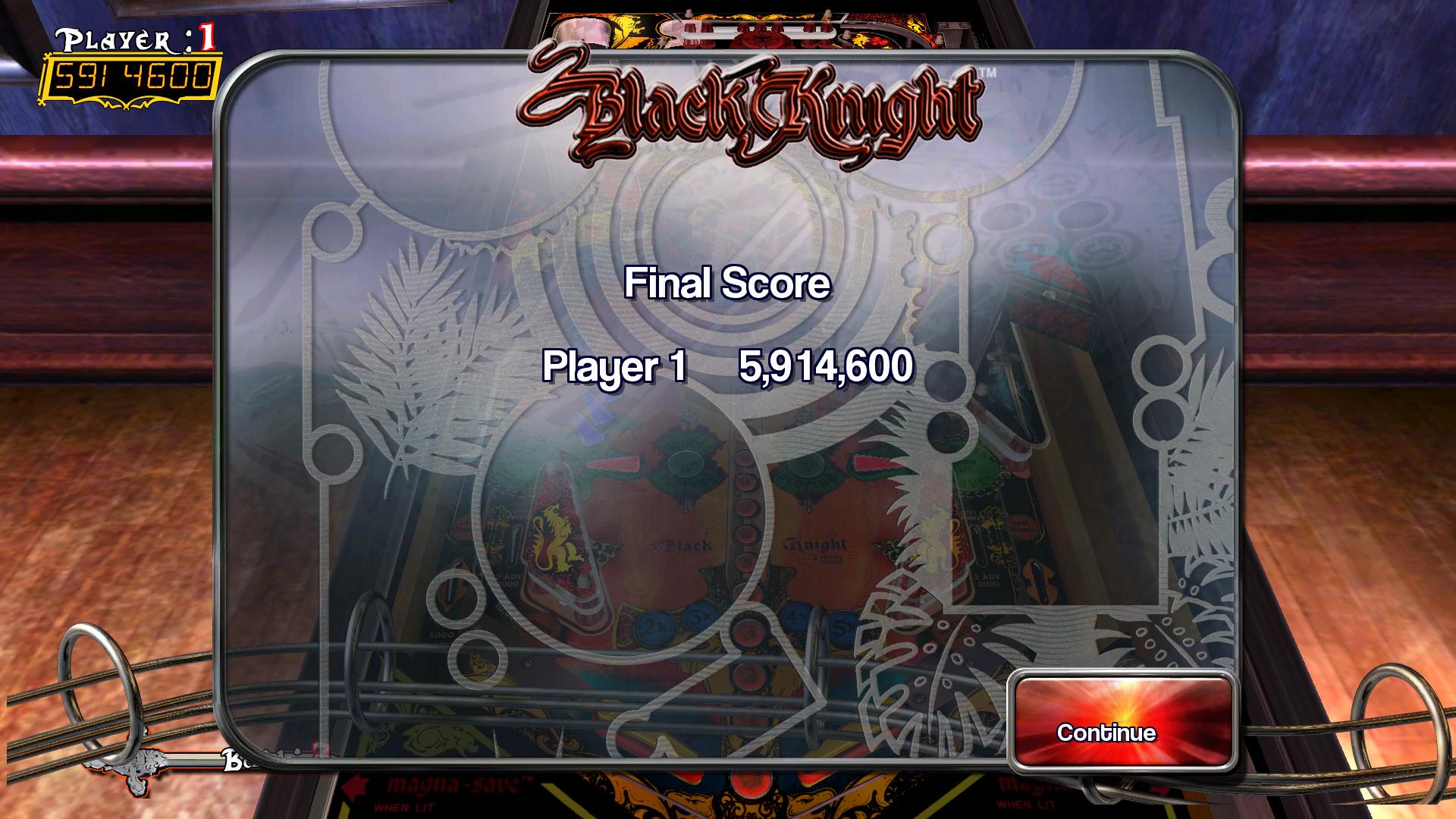 Pinball Arcade: Black Knight 5,914,600 points