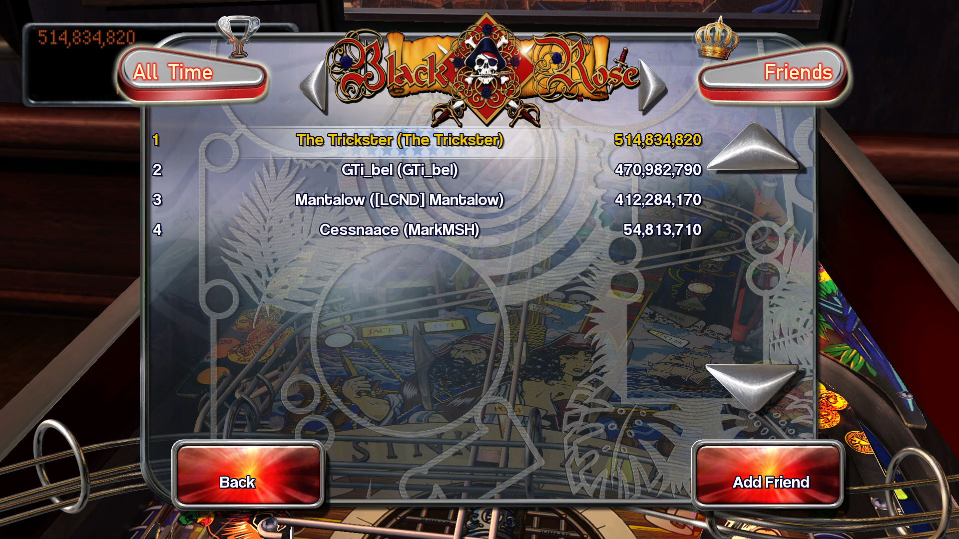 TheTrickster: Pinball Arcade: Black Rose (PC) 514,834,820 points on 2015-11-02 06:47:26