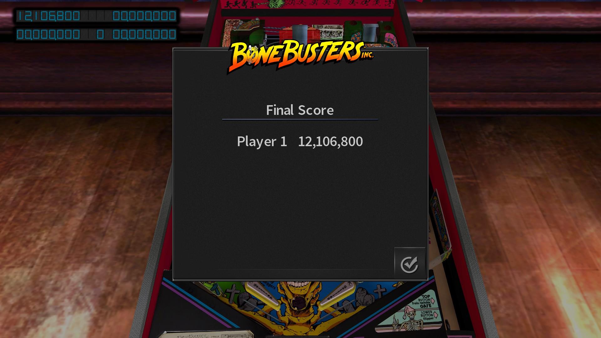 Pinball Arcade: Bone Busters 12,106,800 points