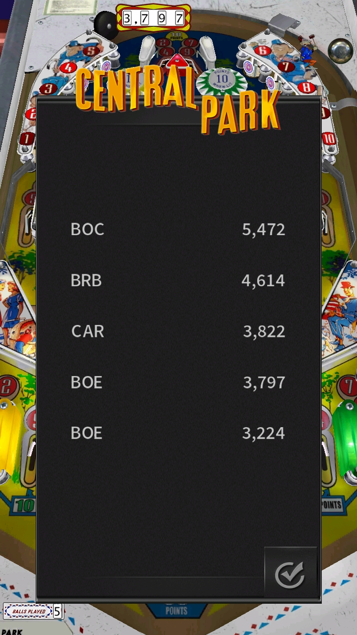 Pinball Arcade: Central Park 3,797 points