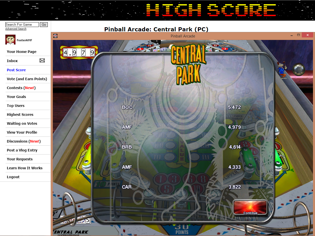 FosterAMF: Pinball Arcade: Central Park (PC) 4,979 points on 2015-07-02 22:04:10