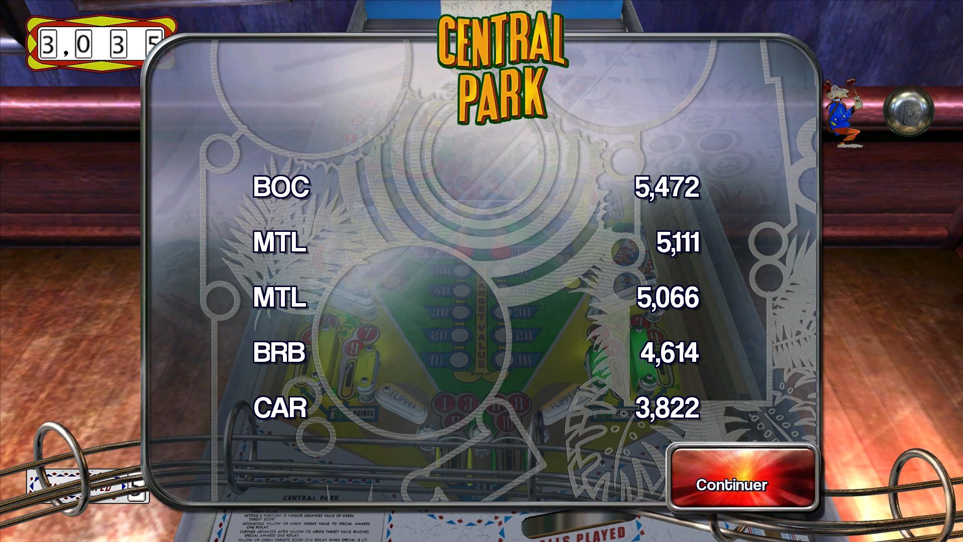 Mantalow: Pinball Arcade: Central Park (PC) 5,111 points on 2015-07-03 03:50:09