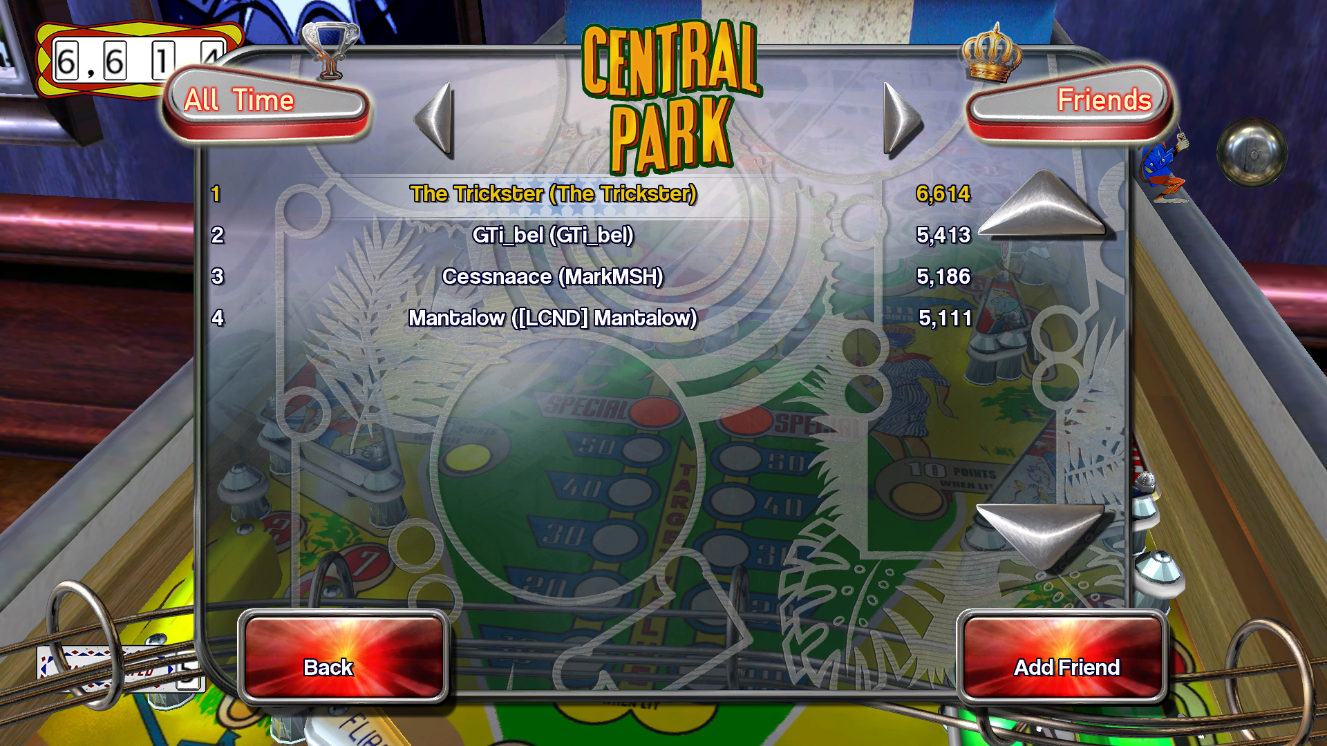 TheTrickster: Pinball Arcade: Central Park (PC) 6,614 points on 2015-09-14 08:09:21
