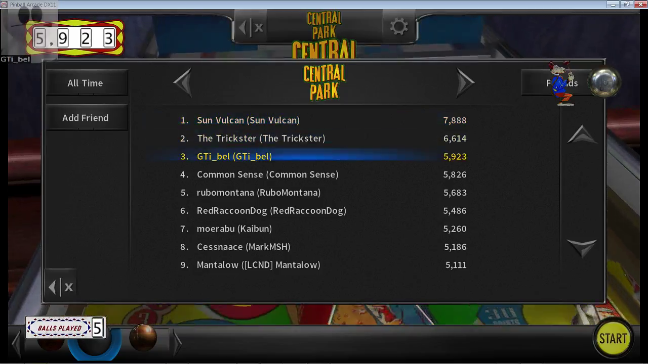 GTibel: Pinball Arcade: Central Park (PC) 5,923 points on 2017-03-16 05:41:35