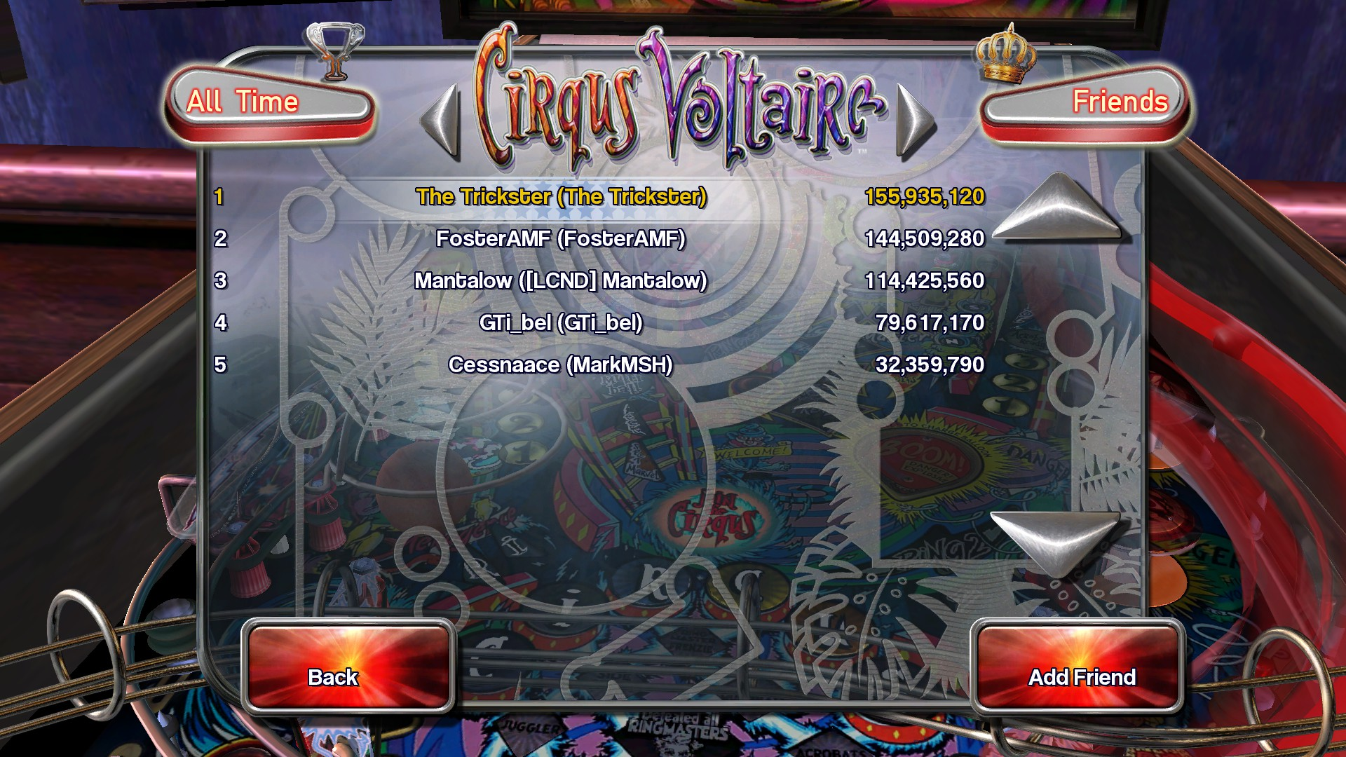 TheTrickster: Pinball Arcade: Circus Voltaire (PC) 155,935,120 points on 2015-11-27 20:35:36