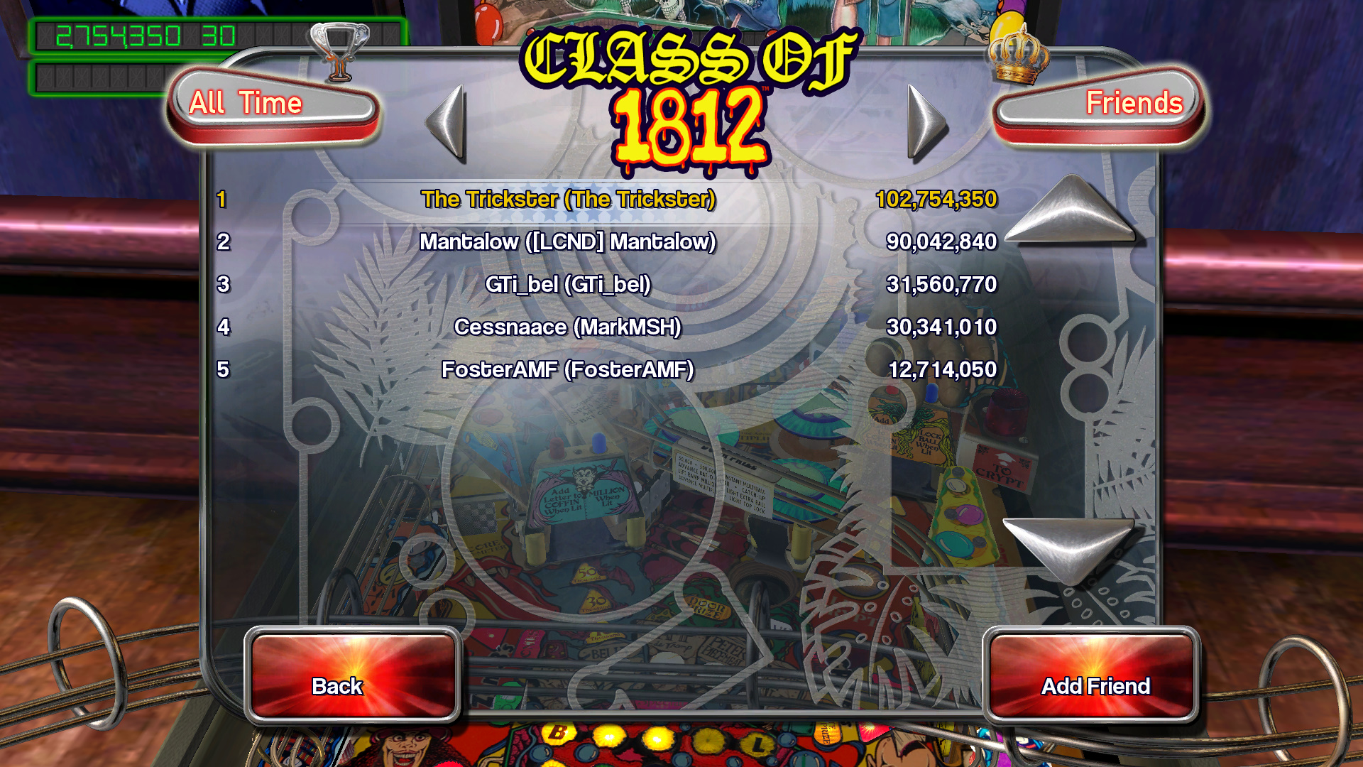 TheTrickster: Pinball Arcade: Class of 1812 (PC) 102,754,350 points on 2015-10-19 06:40:34