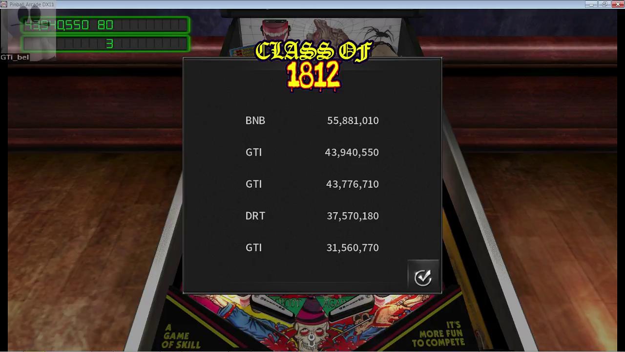 GTibel: Pinball Arcade: Class of 1812 (PC) 43,940,550 points on 2017-03-17 14:08:47