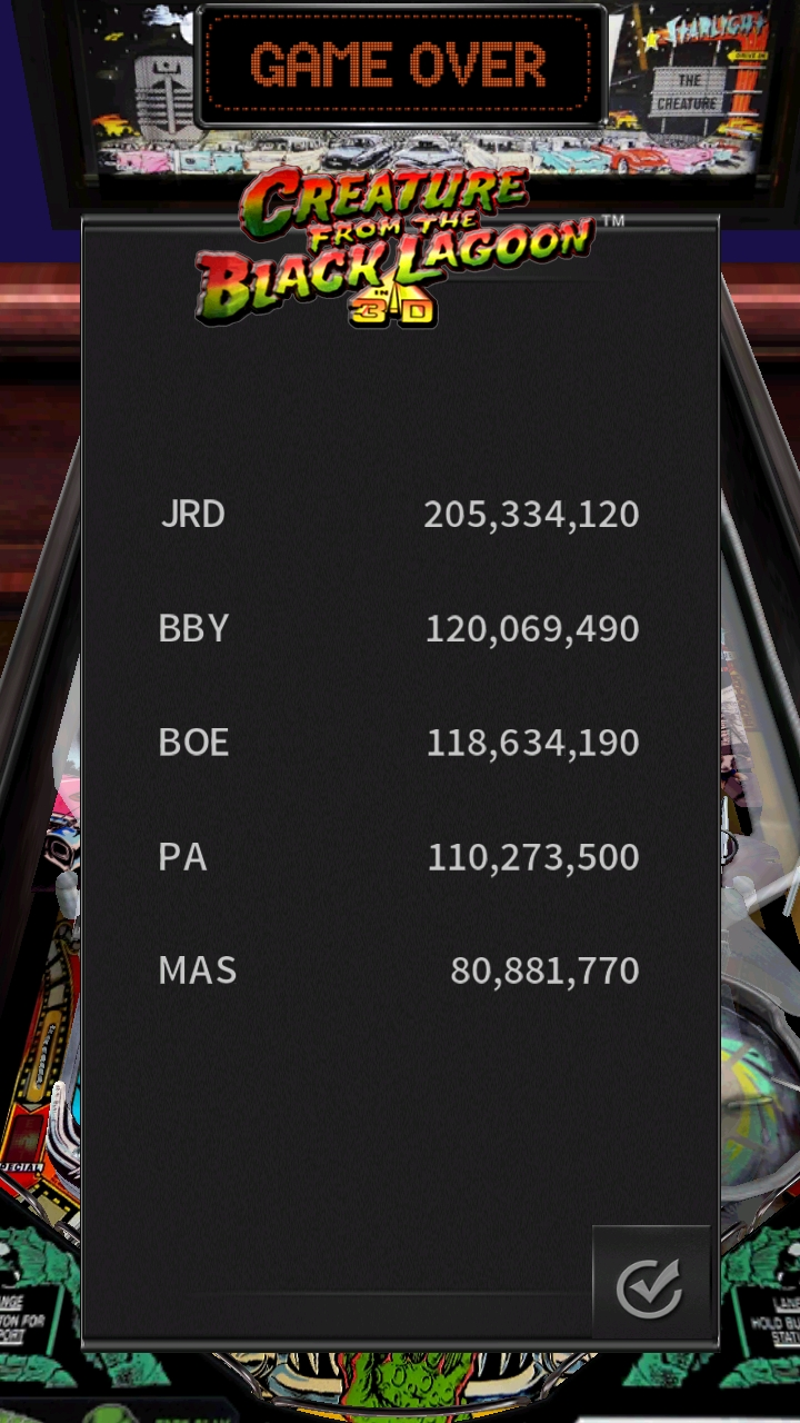 Boegas: Pinball Arcade: Creature From the Black Lagoon (Android) 118,634,190 points on 2019-01-10 06:26:15