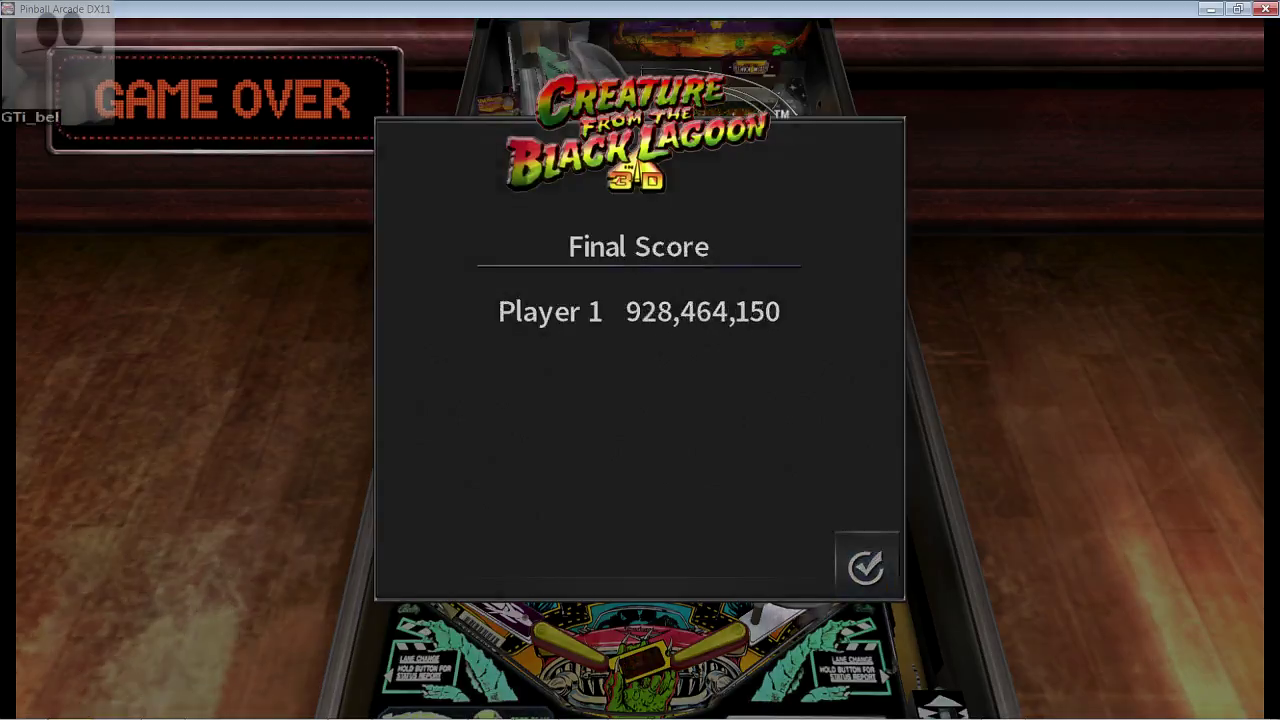 GTibel: Pinball Arcade: Creature From the Black Lagoon (PC) 928,464,150 points on 2017-03-23 14:10:42