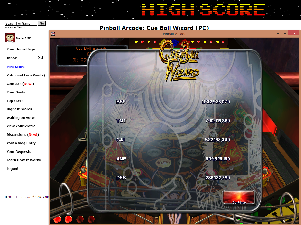 FosterAMF: Pinball Arcade: Cue Ball Wizard (PC) 509,825,150 points on 2015-07-15 22:34:28