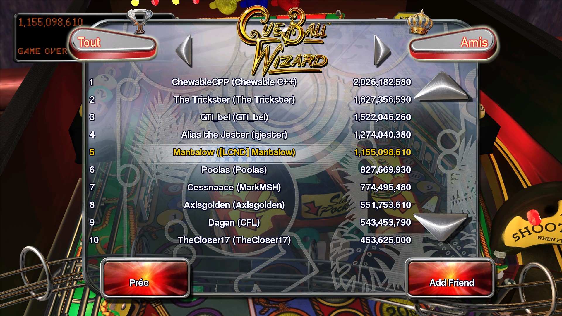Mantalow: Pinball Arcade: Cue Ball Wizard (PC) 1,155,098,610 points on 2016-04-11 15:31:41