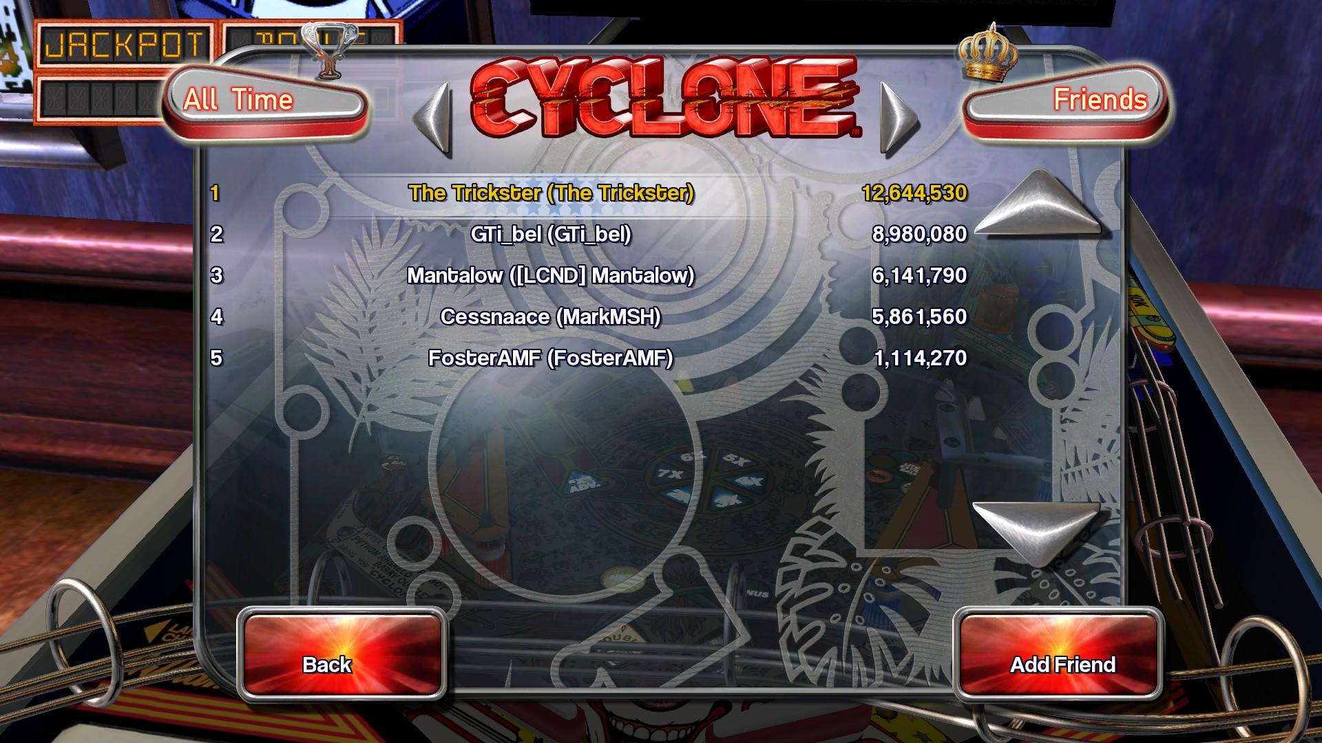 TheTrickster: Pinball Arcade: Cyclone (PC) 12,644,530 points on 2016-03-04 05:05:24