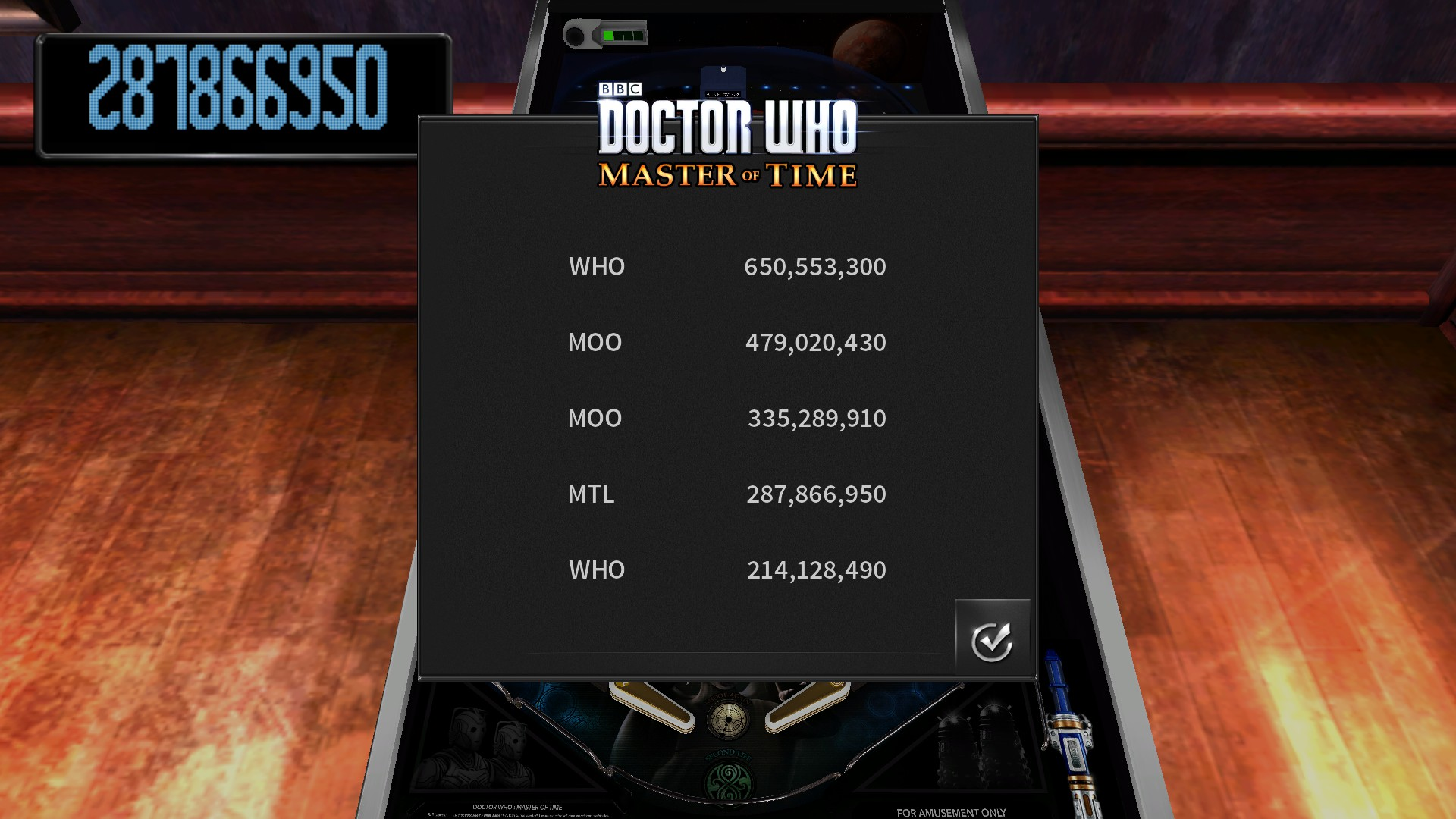Mantalow: Pinball Arcade: Doctor Who: Master of Time (PC) 287,866,950 points on 2017-01-01 08:39:42