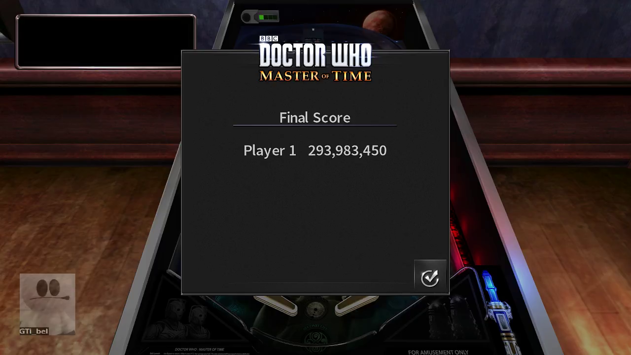 GTibel: Pinball Arcade: Doctor Who: Master of Time (PC) 293,983,450 points on 2017-09-06 10:27:41