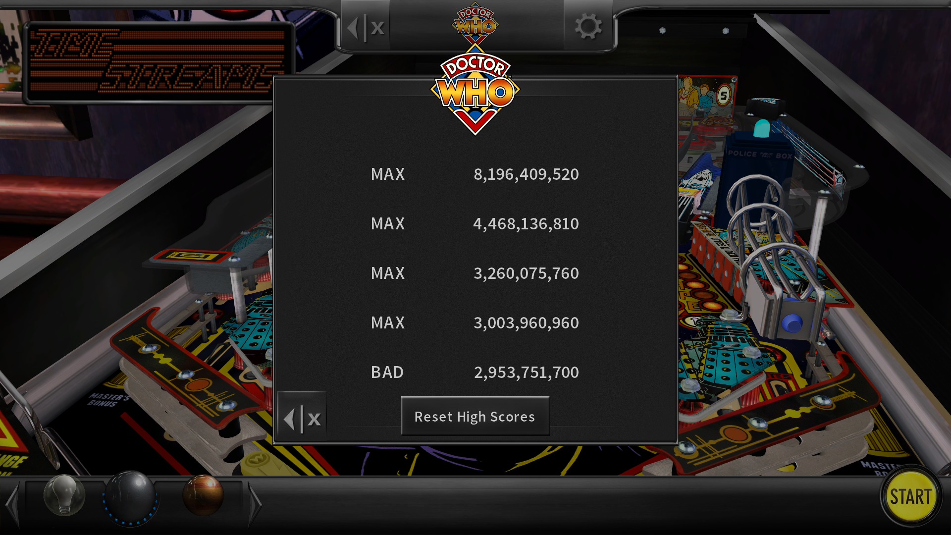 maxgreat: Pinball Arcade: Doctor Who: Master of Time (PC) 8,196,409,520 points on 2018-03-01 04:26:38