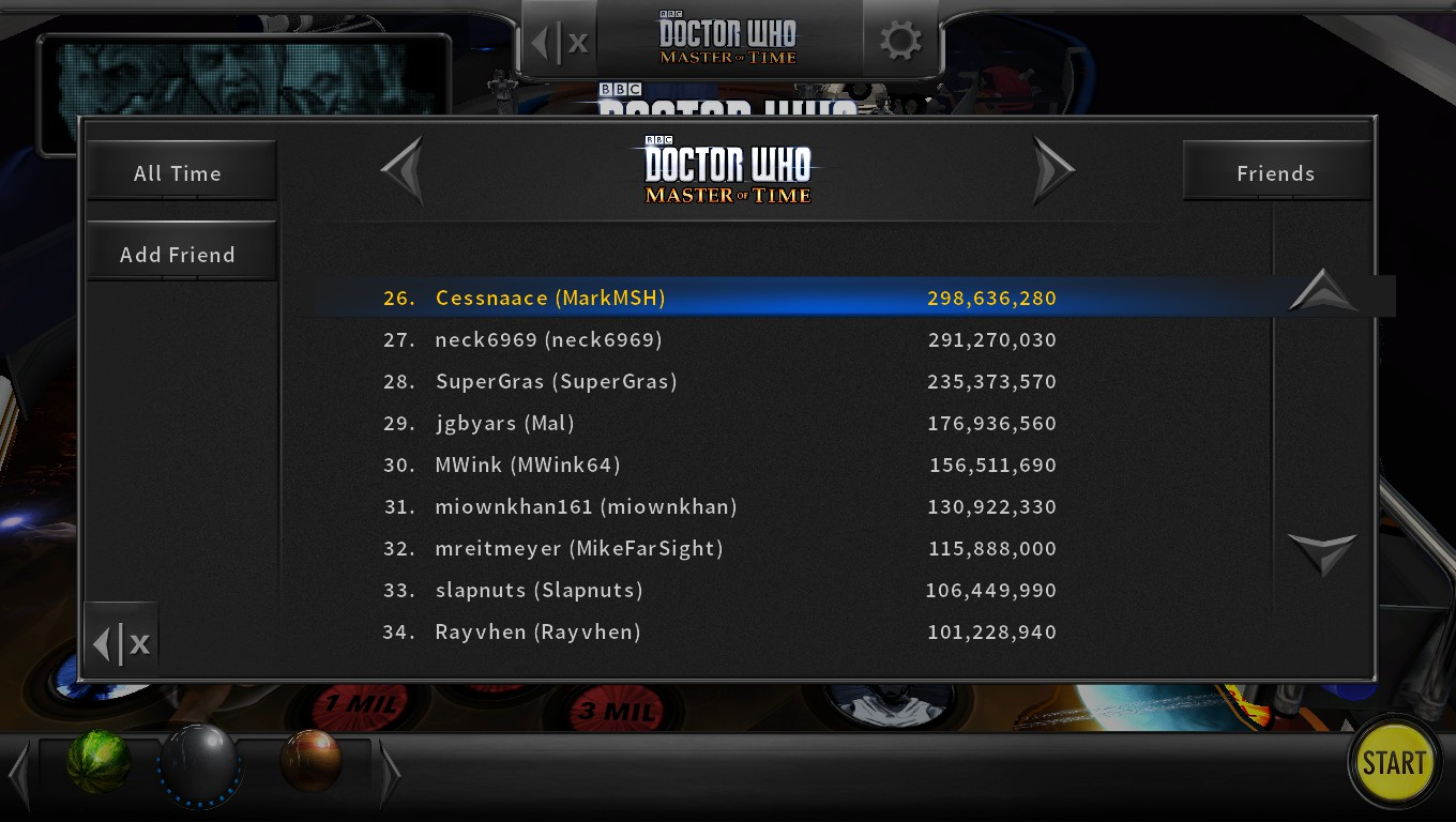 Mark: Pinball Arcade: Doctor Who: Master of Time (PC) 298,636,280 points on 2018-05-06 00:35:14