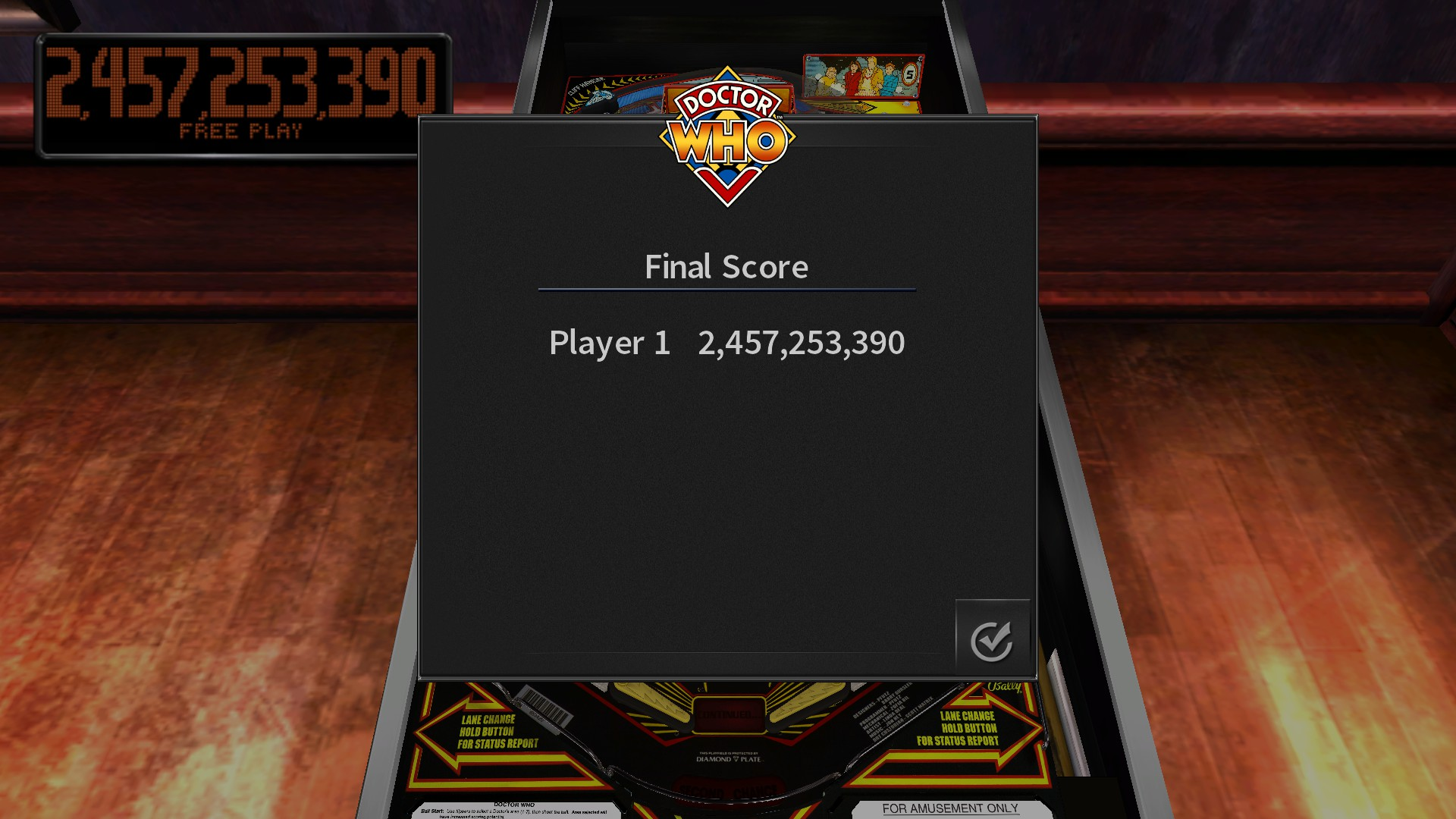 TheTrickster: Pinball Arcade: Doctor Who (PC) 2,457,253,390 points on 2016-11-21 06:25:23