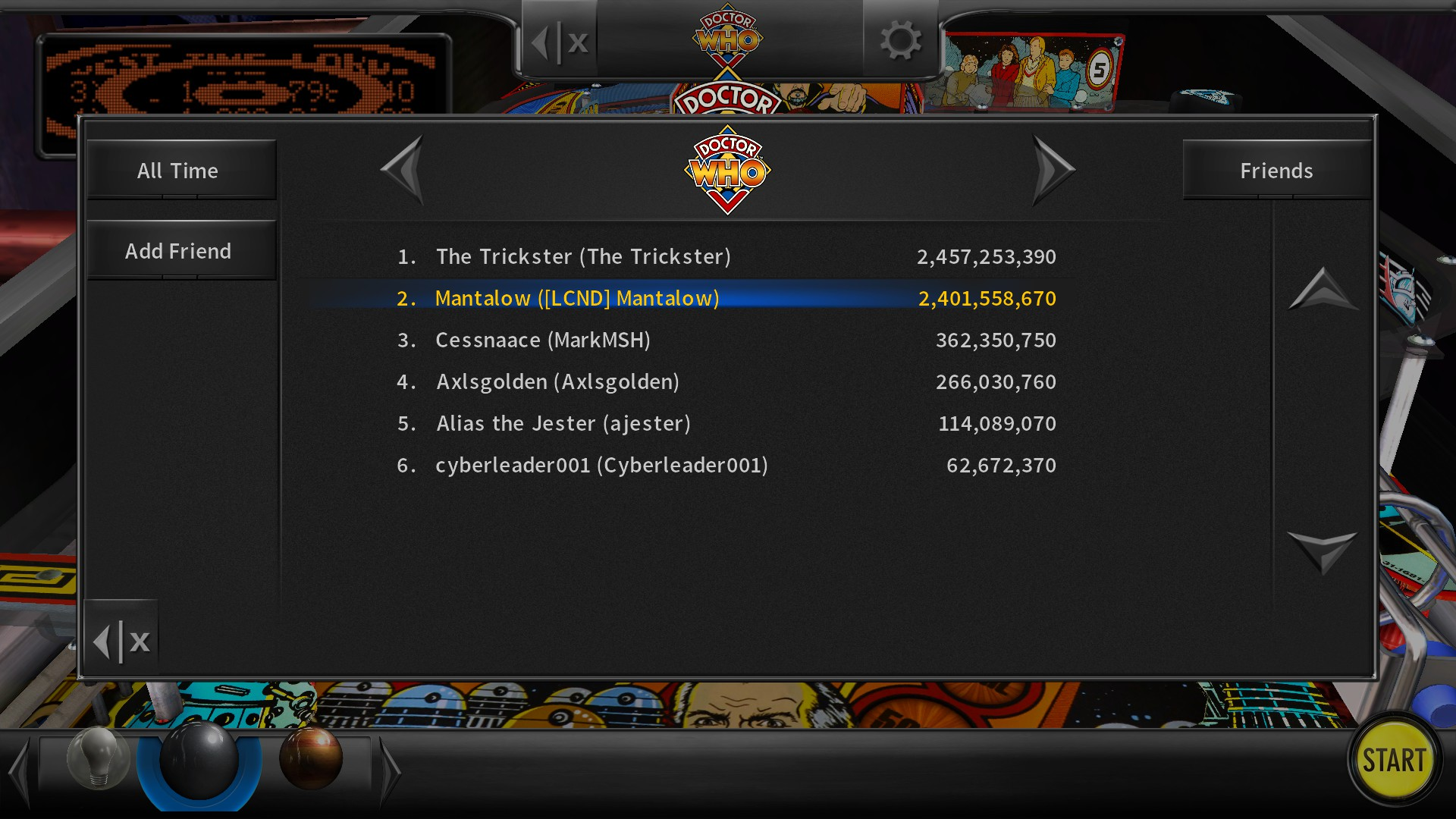 Pinball Arcade: Doctor Who 2,401,558,670 points