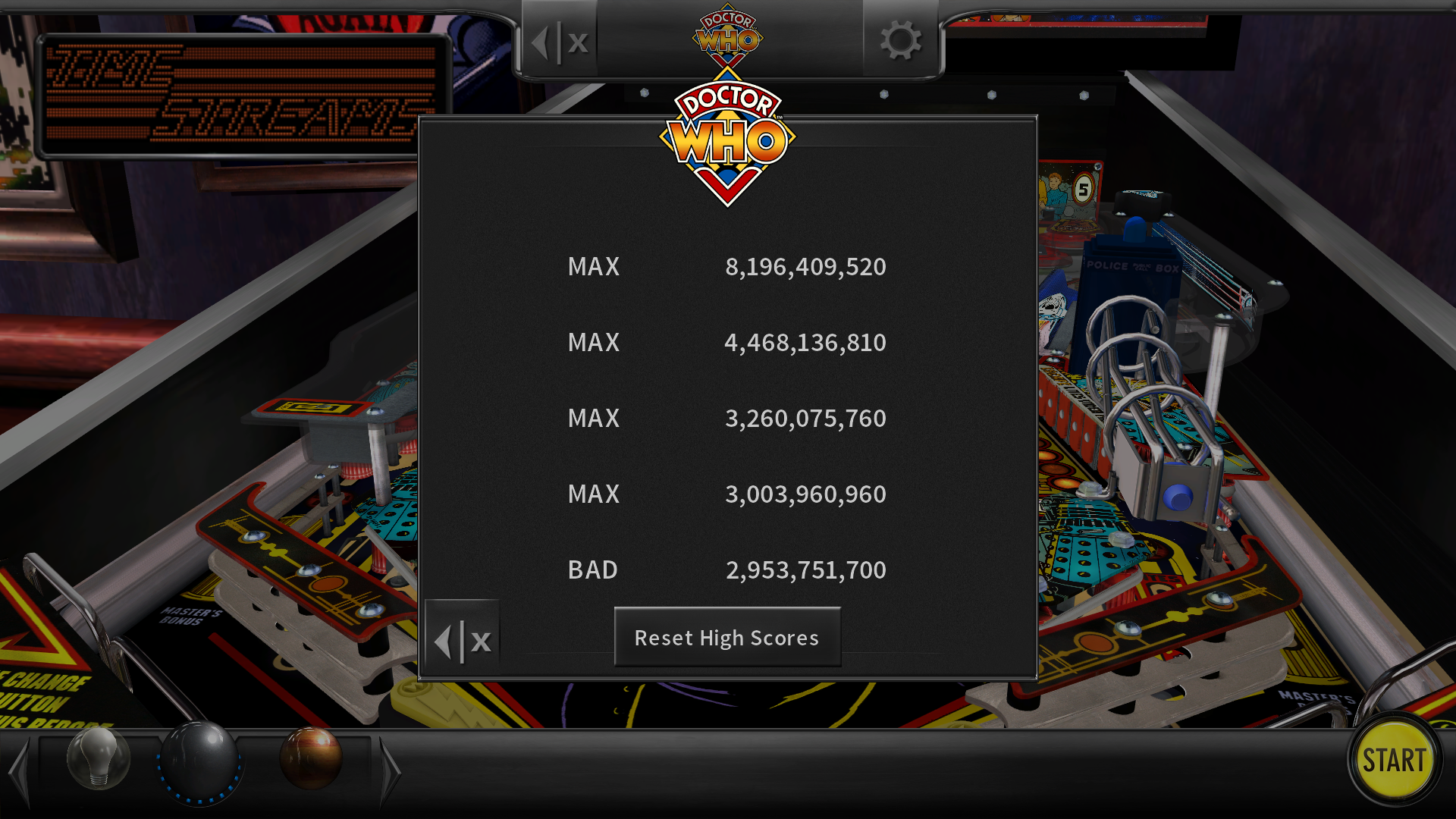 maxgreat: Pinball Arcade: Doctor Who (PC) 8,196,409,520 points on 2018-05-11 18:42:21