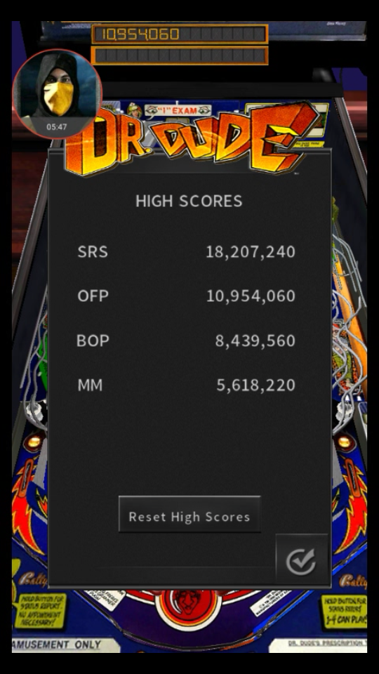 omargeddon: Pinball Arcade: Dr. Dude (Android) 10,954,060 points on 2018-05-14 01:15:28