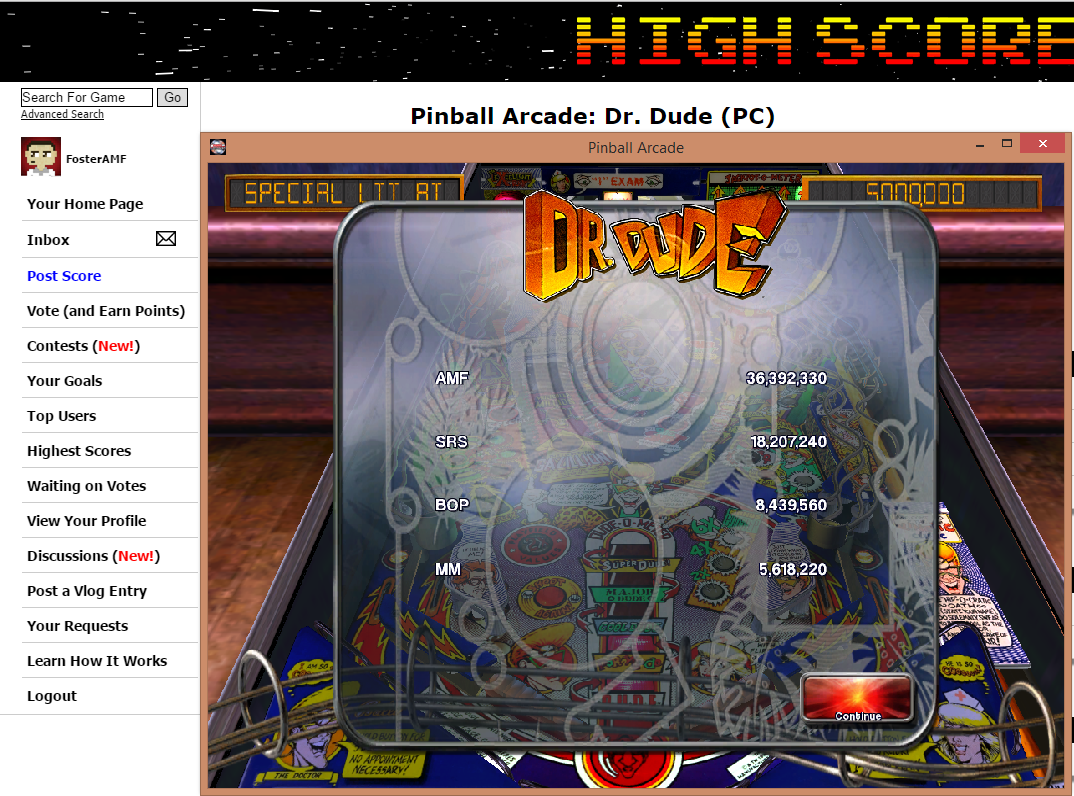 FosterAMF: Pinball Arcade: Dr. Dude (PC) 36,392,330 points on 2015-07-24 02:15:06