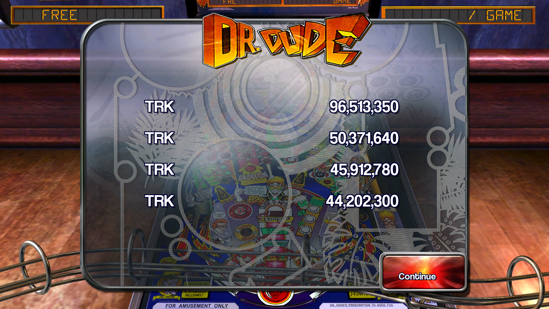 TheTrickster: Pinball Arcade: Dr. Dude (PC) 96,513,350 points on 2015-10-10 04:10:07