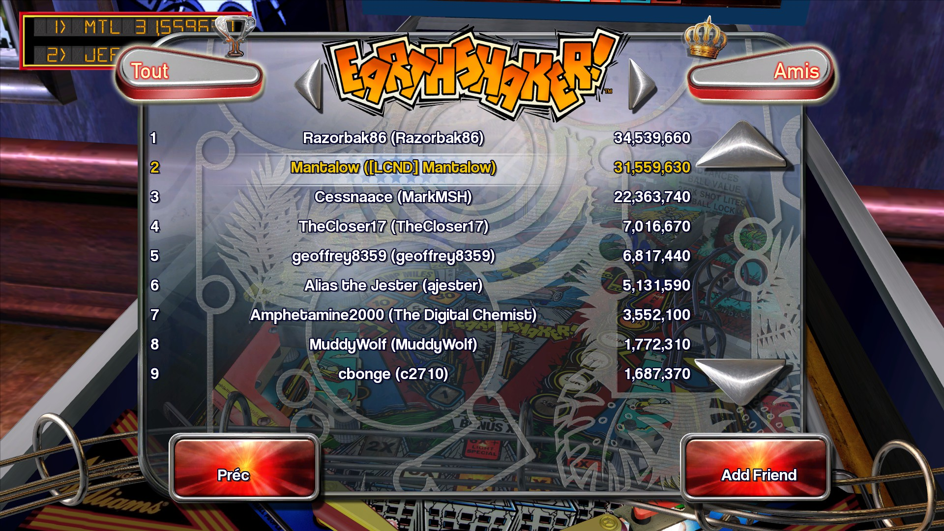 Mantalow: Pinball Arcade: Earthshaker (PC) 31,559,630 points on 2015-10-01 10:15:13