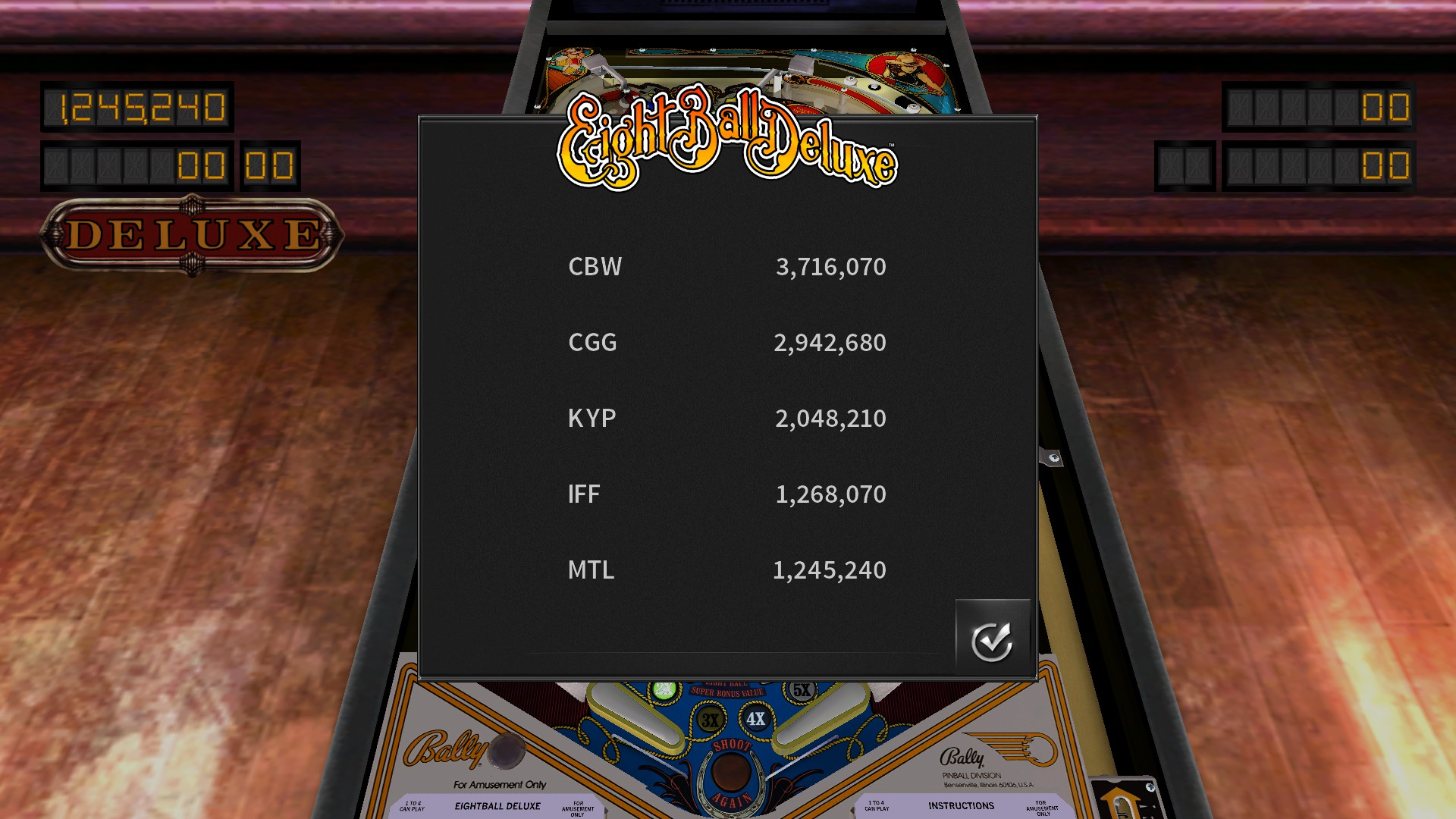 Mantalow: Pinball Arcade: Eight Ball Deluxe (PC) 1,245,240 points on 2016-08-20 01:44:08
