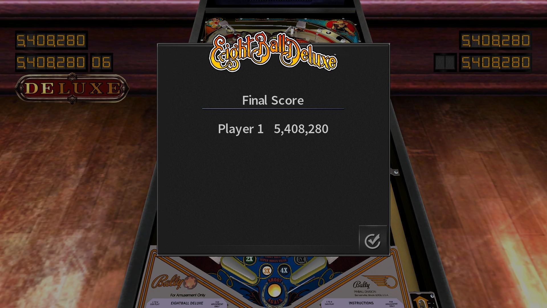 Pinball Arcade: Eight Ball Deluxe 5,408,280 points