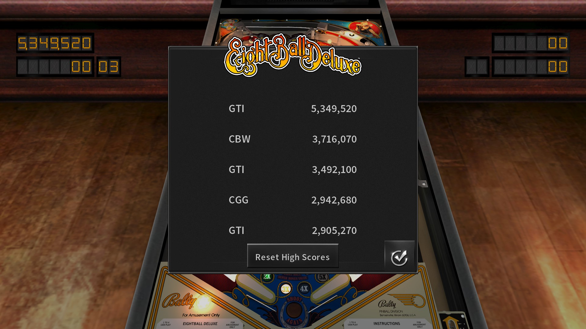 Pinball Arcade: Eight Ball Deluxe 5,349,520 points