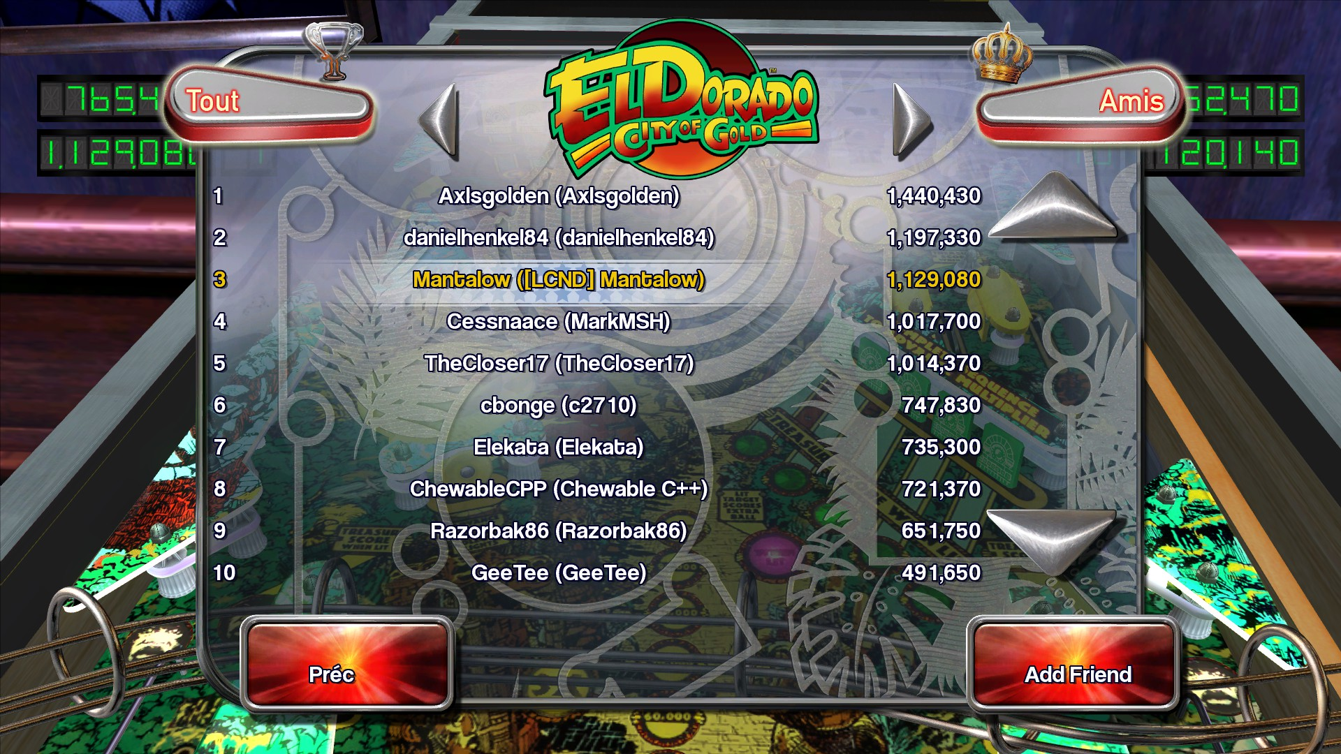 Mantalow: Pinball Arcade: El Dorado: City of Gold (PC) 1,129,080 points on 2015-07-01 16:06:50