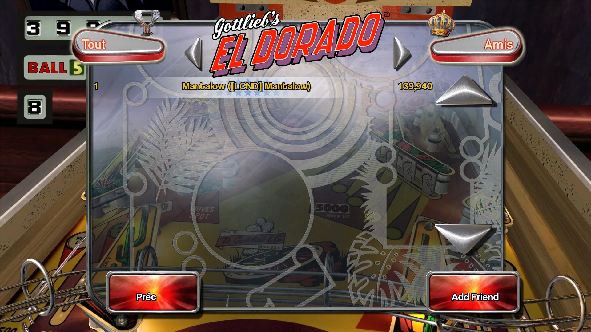 Mantalow: Pinball Arcade: El Dorado (PC) 139,940 points on 2016-01-30 03:00:36