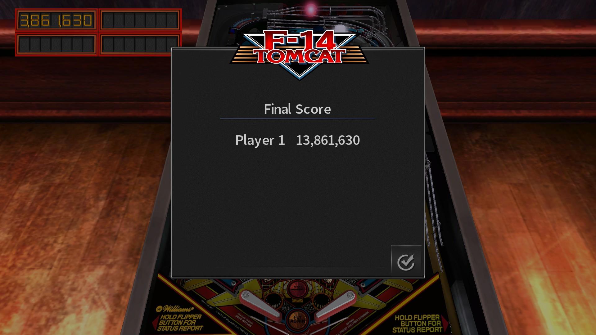 Mantalow: Pinball Arcade: F-14 Tomcat (PC) 13,861,630 points on 2016-11-20 08:21:26