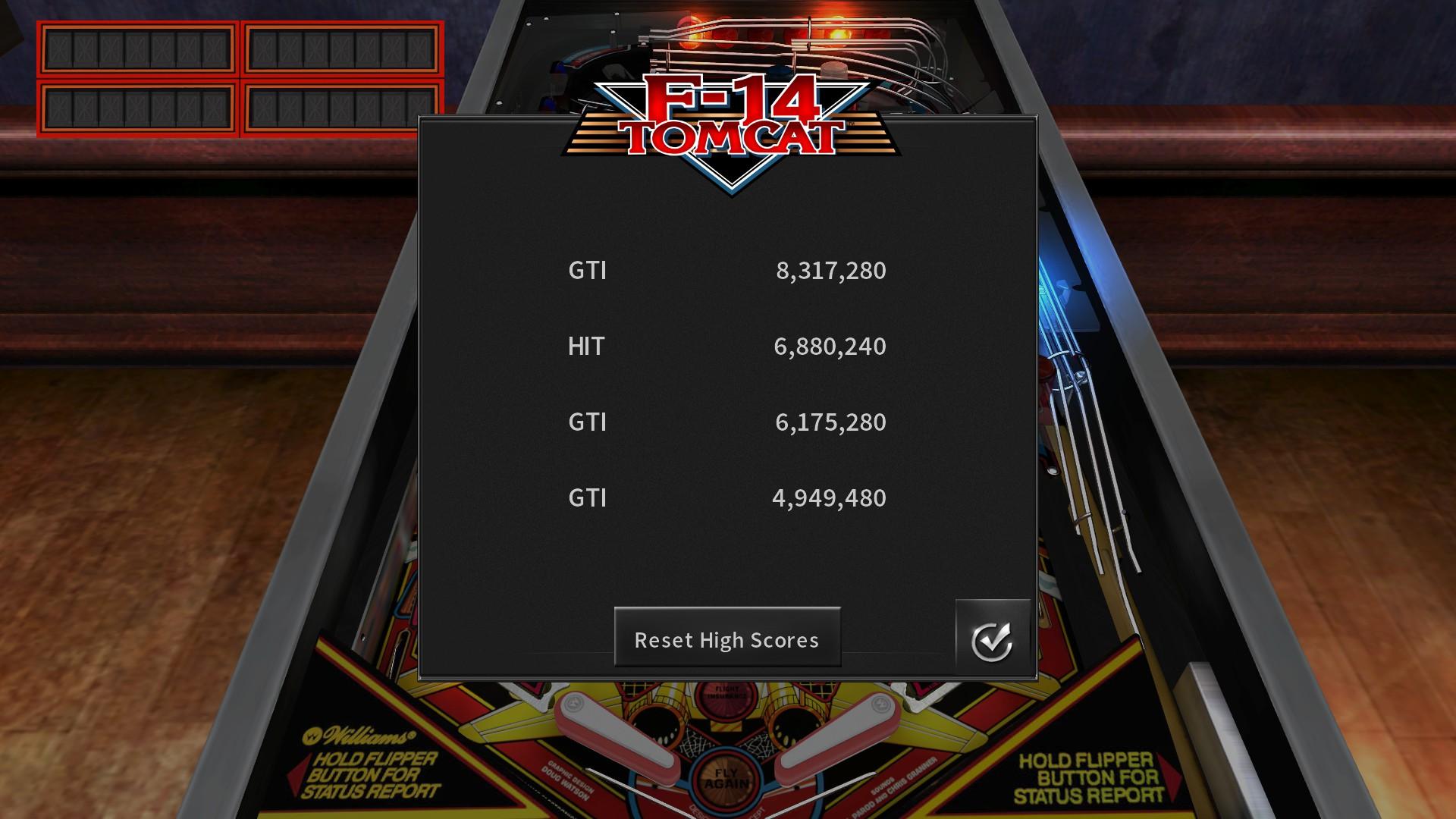 GTibel: Pinball Arcade: F-14 Tomcat (PC) 8,317,280 points on 2018-01-11 04:57:31