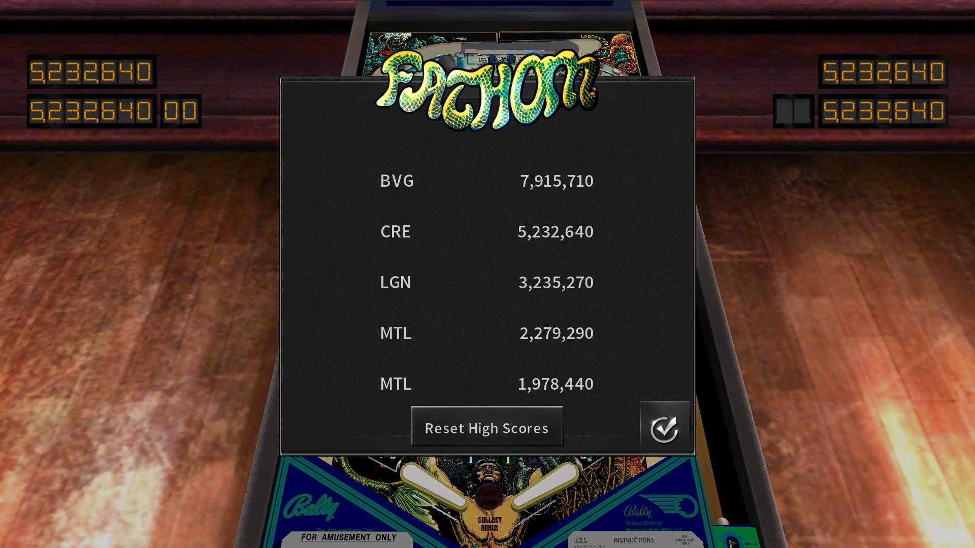 Mantalow: Pinball Arcade: Fathom (PC) 2,279,290 points on 2018-01-16 03:01:55